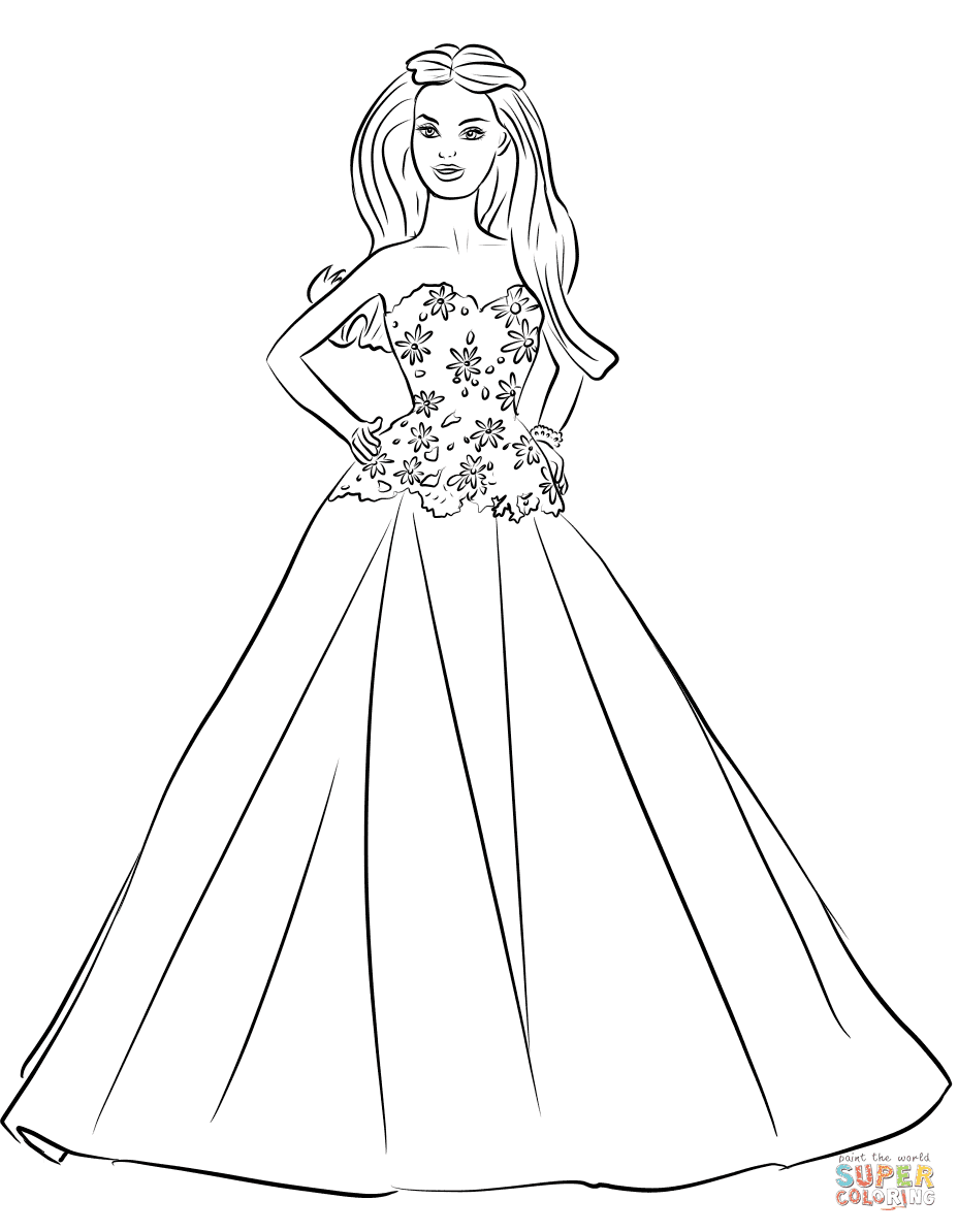 Barbie Quinceanera Coloring Page Free Printable Coloring Pages