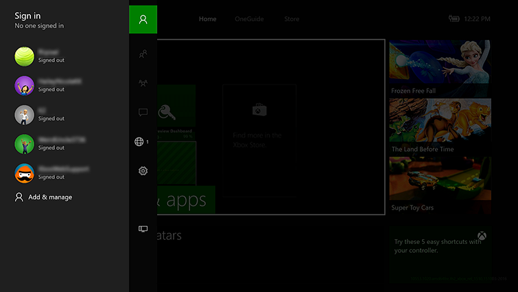 Switch Profiles On Xbox One Or Xbox 360 Console Xbox Live Profile - the sign in panel which contains a list of account names and gamerpics