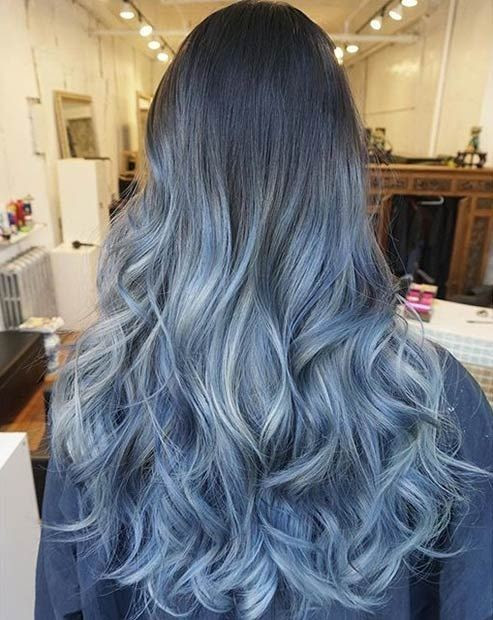 Brown To Blue Ombre Medium Hair