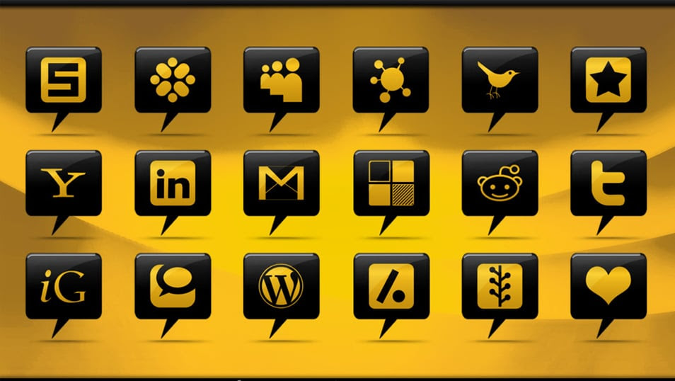 108 Glossy Black Comment Bubble Social Networking Icons