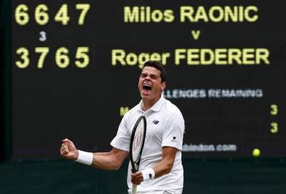 Raonic logró impedir que Federer luchara el domingo por su 18° título de Grand Slam. (Reuter)