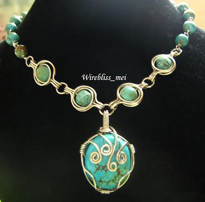 Twice around the world (TAW) wire wrap necklace