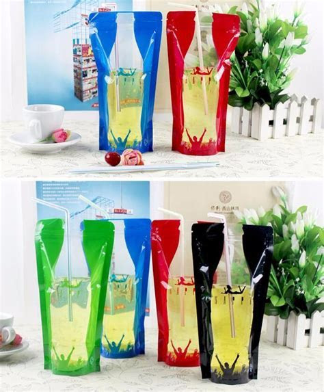 450ml Colorful Design Stand Up Plastic Drink Packaging Bag