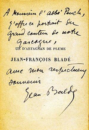 Français : Dédicace autographe de Jean Balde s...