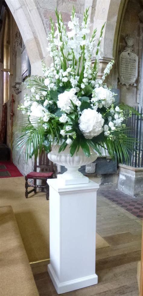 White pedestal arrangement   Floral designs   White flower