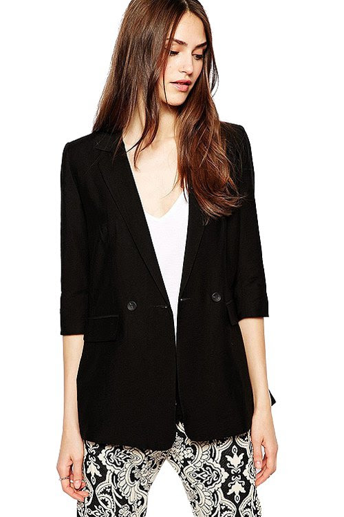Lapel Solid Color Half Sleeve Blazer