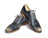 vintage inspired 1920s black beat up bespoke shoes for men  FREE WORLDWIDE SHIPPING - goodbyefolk