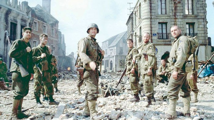 Captain Miller and his troops prepare to confront an approaching German garrison in SAVING PRIVATE RYAN.
