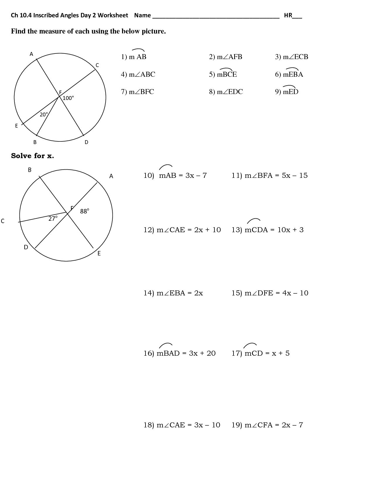 Inscribed Angle Worksheet With Answers - Ivuyteq