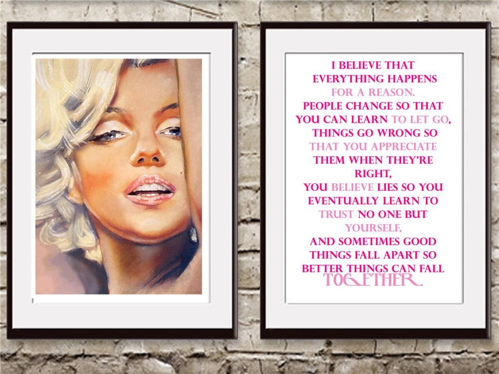 2 Vintage marilyn monroe & hot pink quote art by theprintsworld