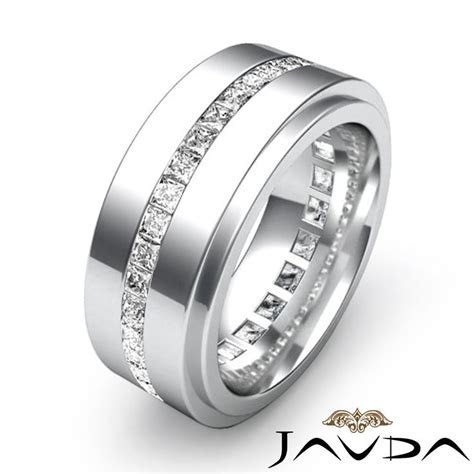 Men's Eternity Wedding Band Channel Set Princess Diamond
