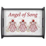Three Red Filigree Christmas Angels of Song Serving Platters