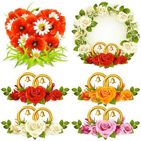 Floral wedding decoration elements vector   Vector