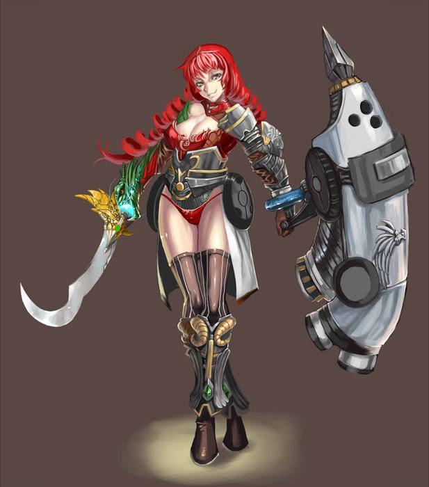 フリーイラスト 盾と剣を持つ女戦士でアハ体験 Gahag 著作権フリー