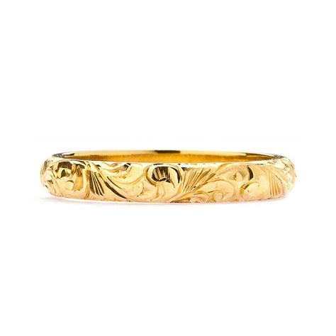 fairtrade 18ct gold engraved wedding ring 3mm by lebrusan