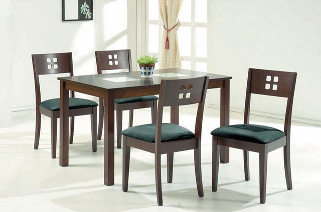 Exotic Wood and Glass Top Modern Furniture Table Set - modern ...