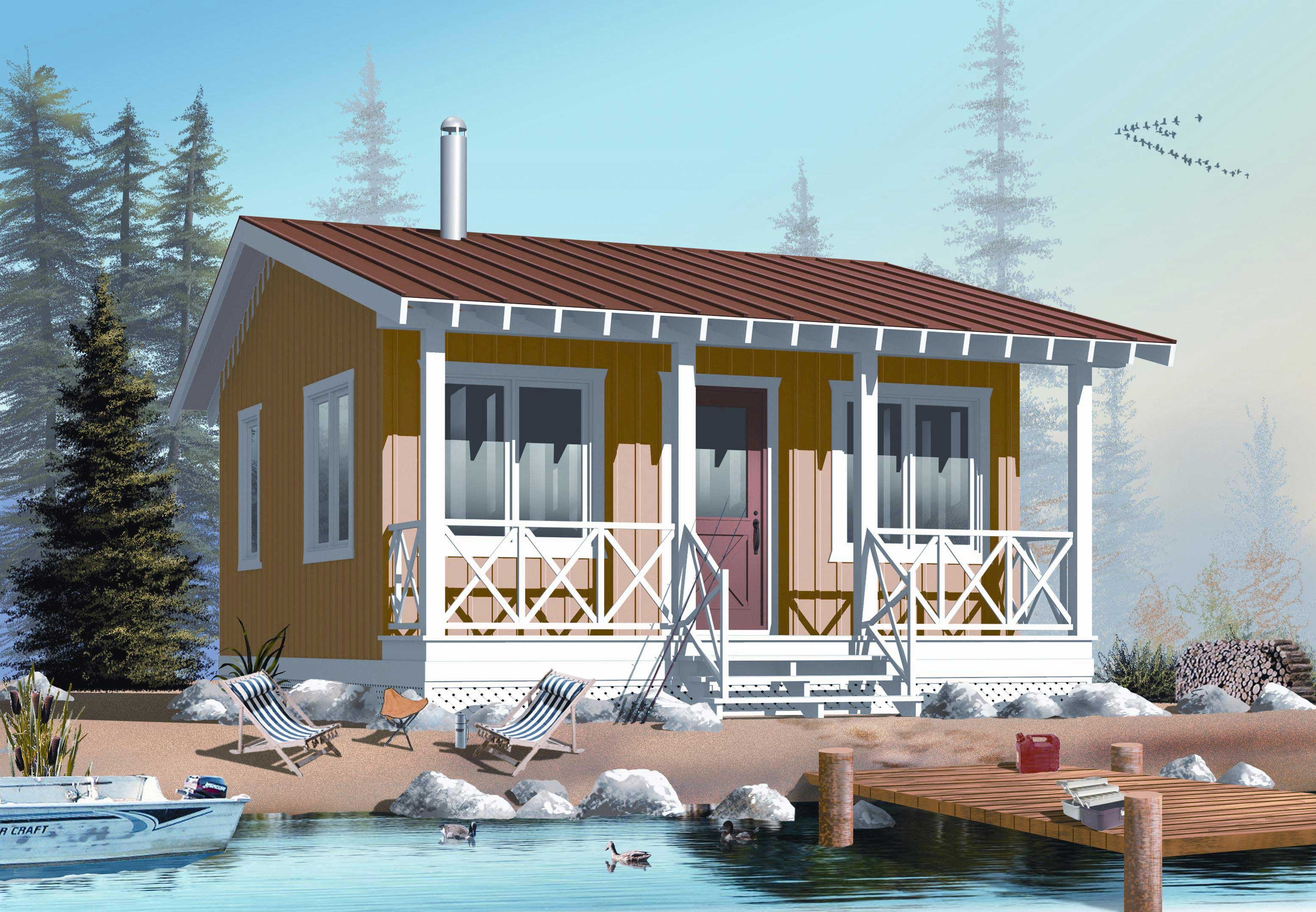 Small House Plan / Tiny Home 1 Bedrm, 1 Bath 400 Sq Ft 1261022 - Small Modern Cheap House Plans — MODERN HOUSE PLAN : MODERN HOUSE PLAN
