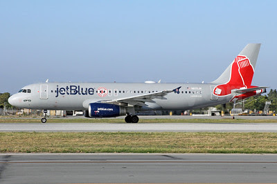 JetBlue Airways Airbus A320-232 N605JB (msn 2368) (Boston Red Sox) LGB (Michael B. Ing). Image: 913115.