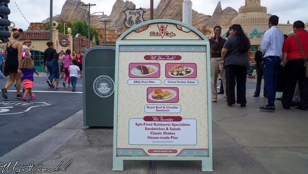 Disneyland Resort, Disney California Adventure, Cars Land, Flos's V8 Cafe, Menu, Change