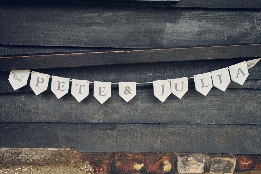 Rustic Bunting wedding sign at Sproughton Tithe Barn, Suffolk Wedding photography - www.helloromance.co.uk