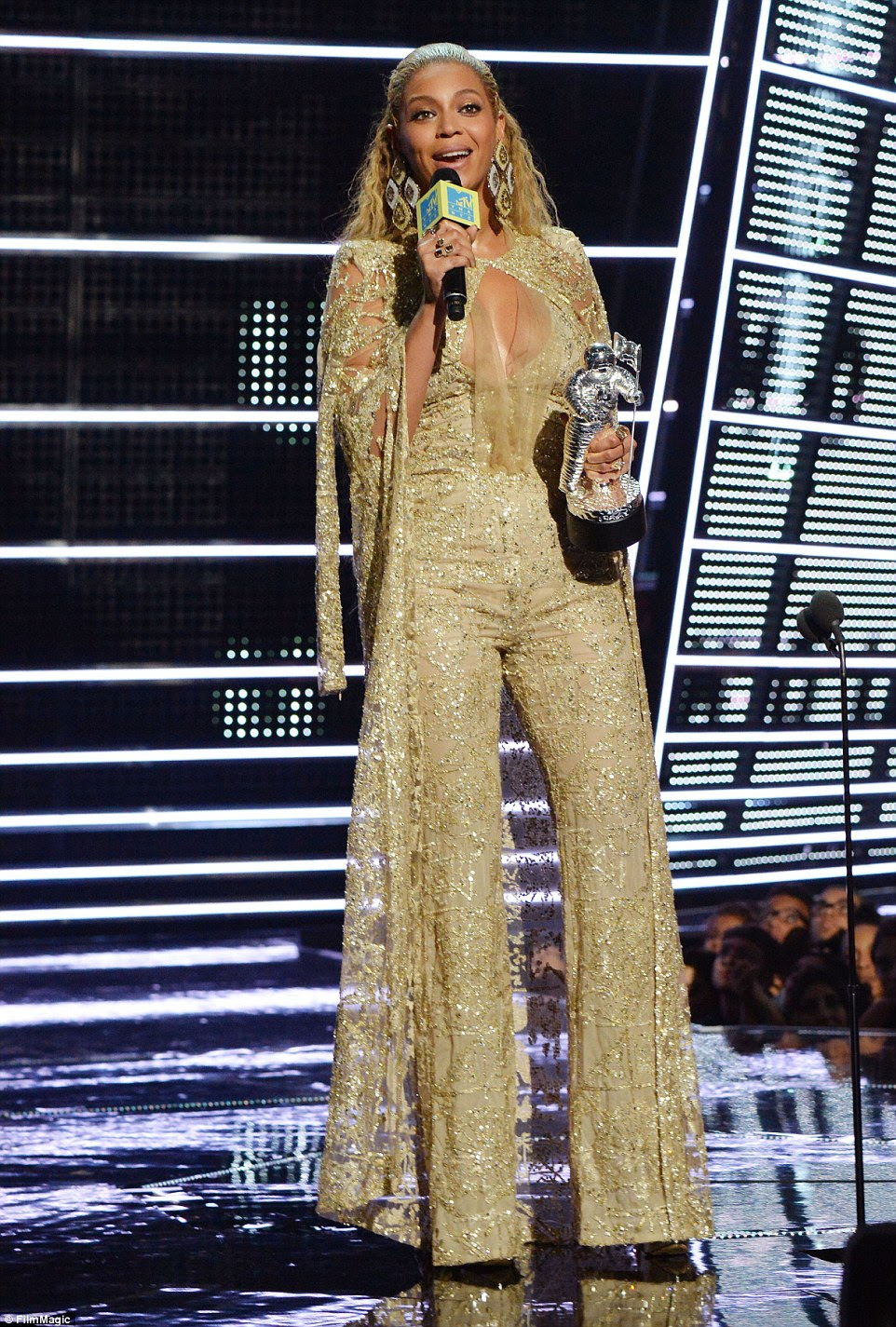 Going for the gold: Beyonce took home the Best Female Video award at the 2016 MTV Video Music Awards in New York On Friday