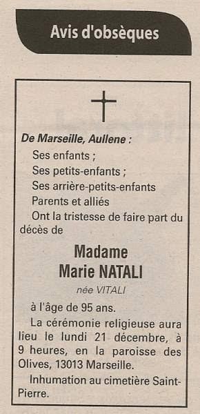 Décès Natali Marie