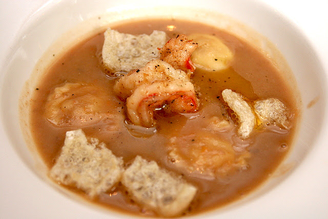Veneto style borlotti bean and pasta soup with pepper prawn