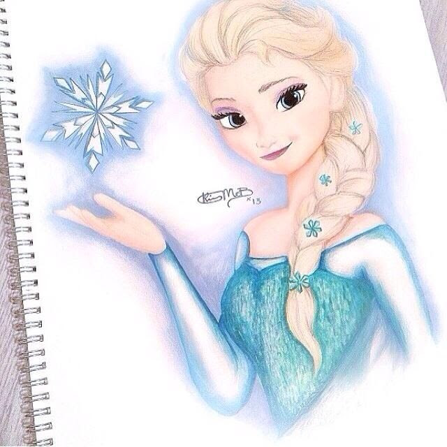 Elsa Frozen Drawing In Color 21623 Usbdata