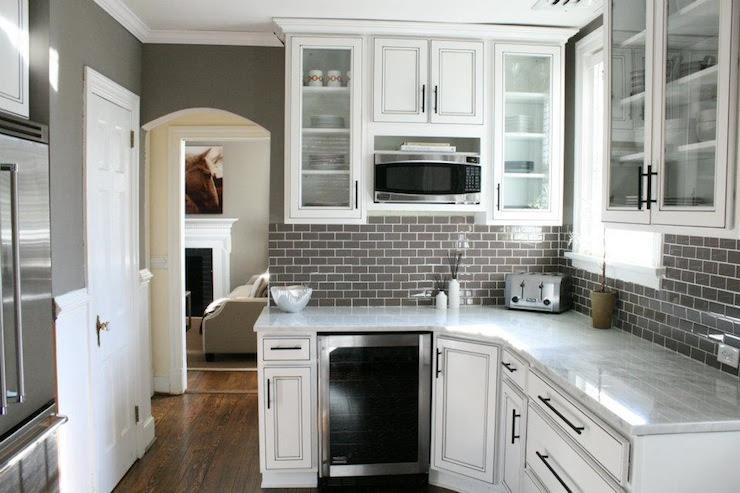 Gray Subway Tile Backsplash - Contemporary - kitchen - Kenneth ...