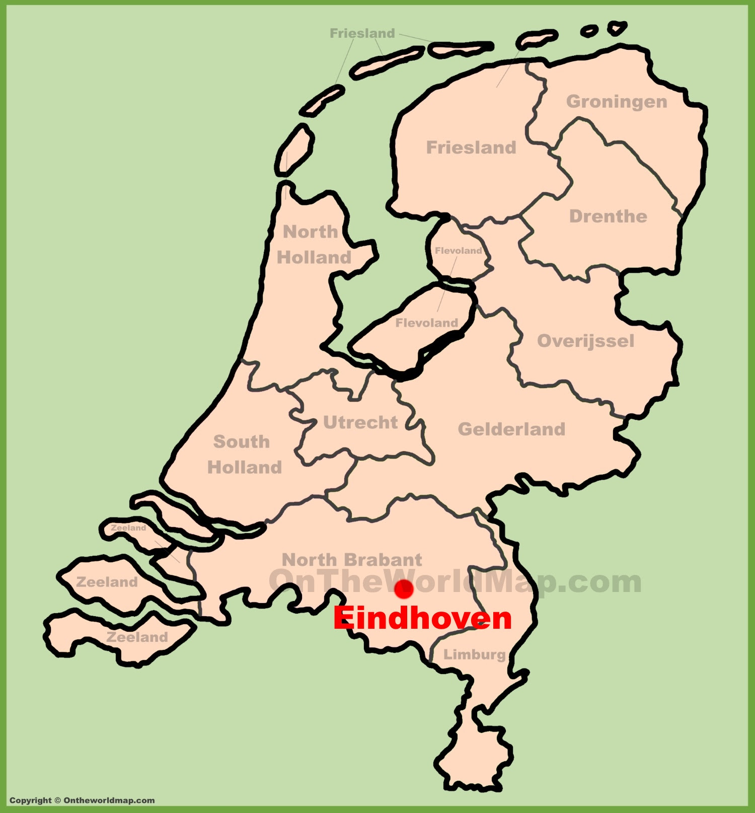 eindhoven location on the netherlands map