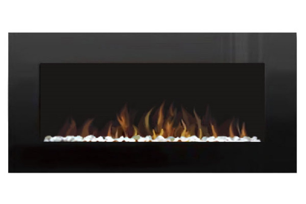 48 Electric Wall Mount Fireplace Crystal Black Glass With Pebbles