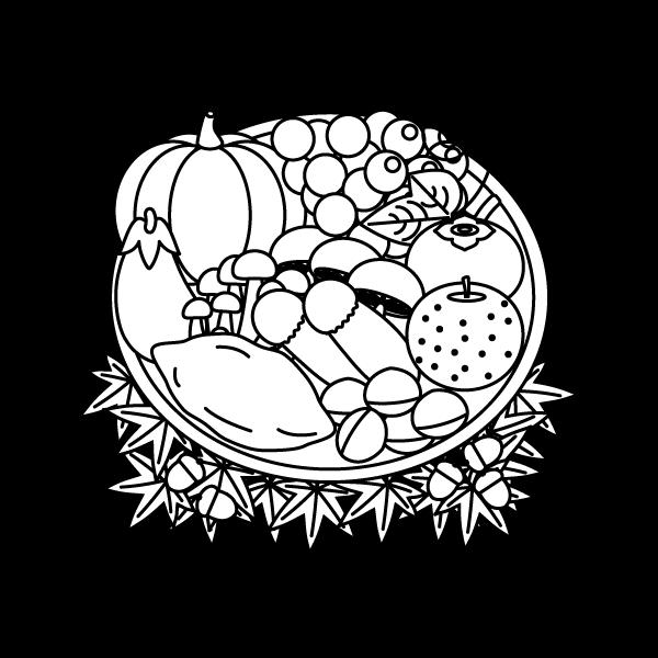 塗り絵に最適な白黒でかわいい秋の味覚狩りの無料イラスト商用フリー