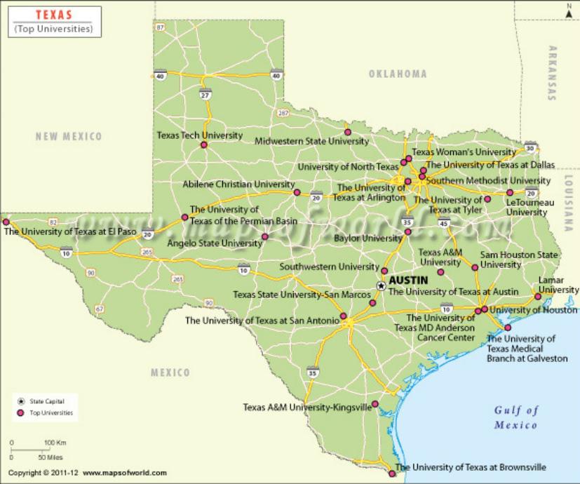 Map Of Universities In Texas