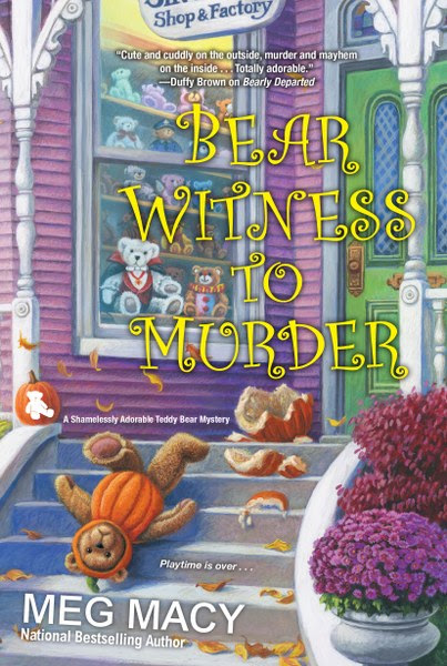 """Book Cover for cozy mystery Bear Witness to Murder from the Shamelessly Adorable Teddy Bear Mystery Series by Meg Macy."""