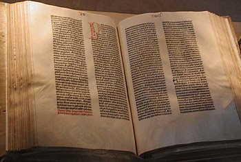 The Gutenberg Bible displayed by the United St...