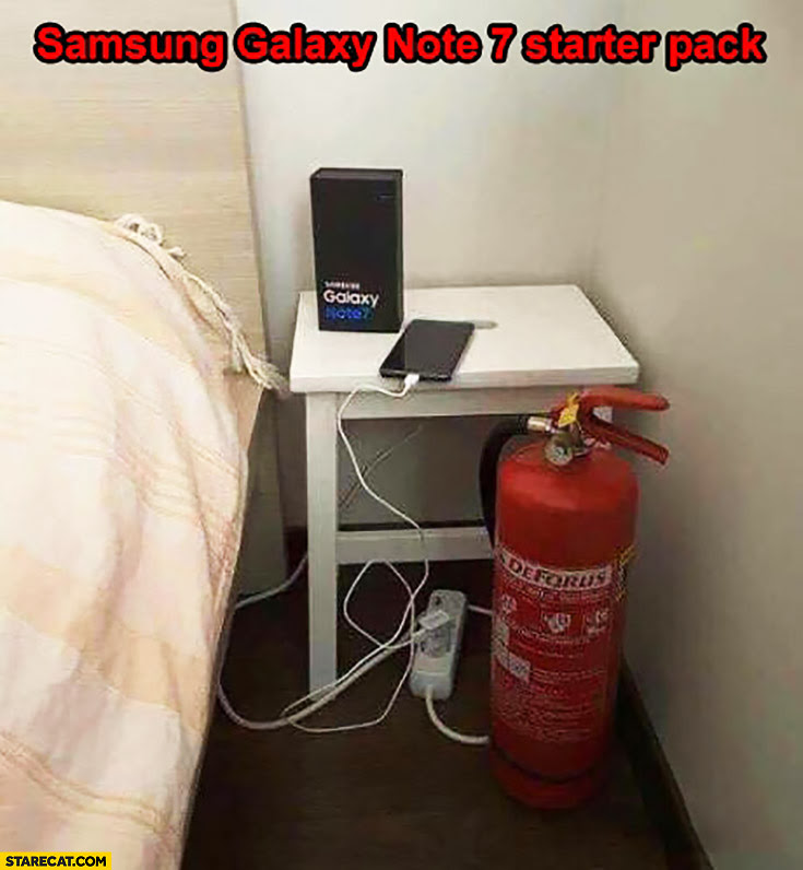 Image result for samsung note 7 meme fire extinguisher