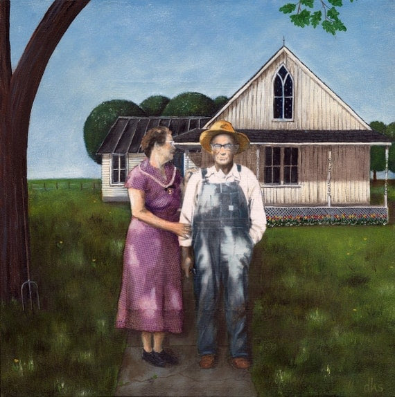 American Gothic, 12 x 12 print, Grant Wood, Americana, farm, farm house, wall art, archival from original oil painting,