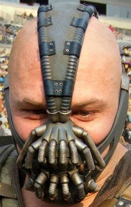 A close-up of Bane's mask during filming of THE DARK KNIGHT RISES.