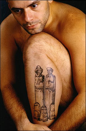 The tattoo was designed to honor his partner, a firefighter,