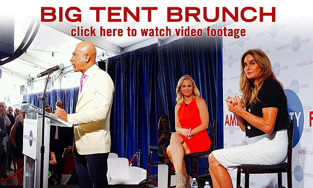 """Homosexualism in the name of """"freedom""""...is being pushed in the GOP by groups like the American Victory Fund. Show above are (left to right): Montel Williams, Margaret Hoover and Bruce (""""Caitlyn"""") Jenner at an AUL event at the Republican convention in Cleveland."""