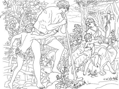 Coloriage Adam Et ève Avec Caïn Et Abel Coloriages à Imprimer