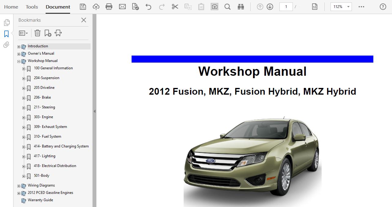 2012 Ford Fusion Repair Manual