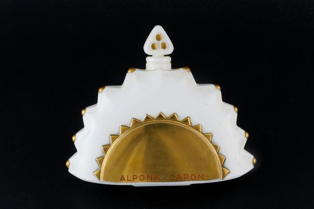 """CARON """"Alpona"""" Flacon exceptionnel en cristal blanc à rehauts laqués"""
