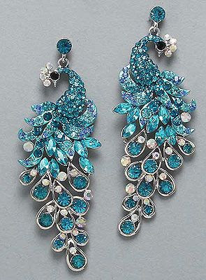 "Blue Zircon, Aquamarine, Light Sapphire and AB Crystal Peacock Earrings (1 1/2"" W, 3 1/2"" L) $33"