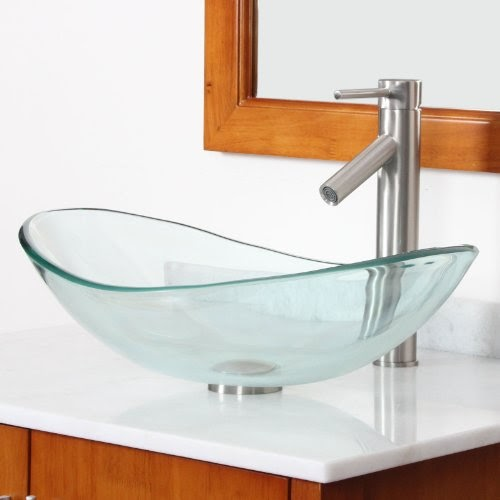 This Website Is Actually Where You Should Invest In On The Net Pertaining To Elite Bathroom Boat Shape Clear Gl Vessel Sink 038 Brushed Nickel Single