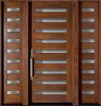 Fabulous Brown Wooden Large Single Sliding Modern Front Door With ...