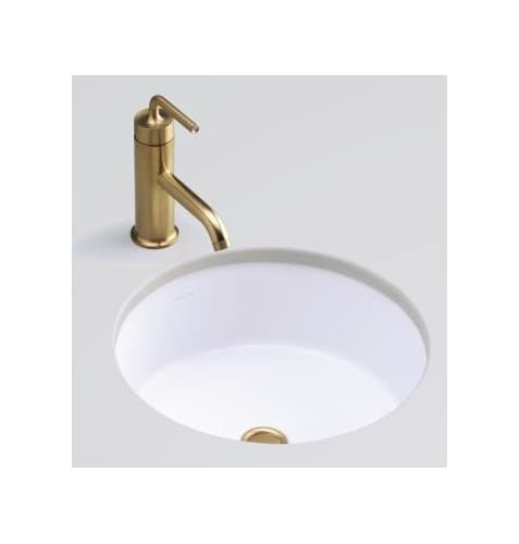 Kohler Verticyl Honed White Undermount Round Bathroom Sink