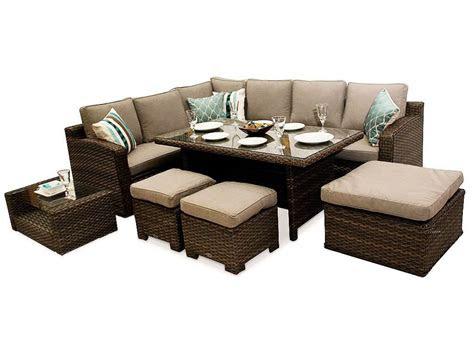 chelsea dining corner sofa rattan furniture set brown