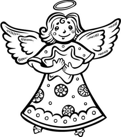 Dibujo De ángel Navideño Sujetando Una Estrella Para Colorear