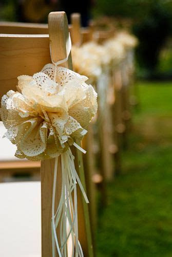 Lace chair decorations mix with burlap and peach chiffon